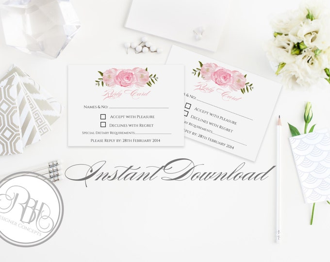 "Wedding RSVP Reply Card Template INSTANT DOWNLOAD-Diy Editable Text- Pink Roses Peonies Watercolor-""Juliet"""