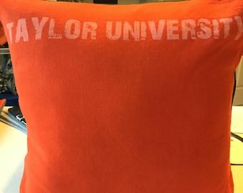 Taylor University T-shirt pillow