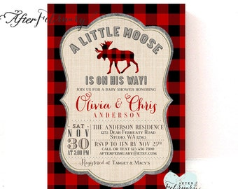 Moose Baby Shower Invitation Christmas Baby Shower Invitation Red Plaid Lumberjack Baby Shower Typography / Printable No.1294BABY