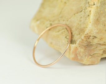 Solid 14k Rose Gold Ring, Super Thin Stacking, Round Minimal Gold Ring, Rose Gold Ring, Solid Gold Ring, 14k Gold Ring, Real Gold Ring