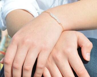 Moonstone Bracelet, Danity Stacking Bracelet, 14k Gold Fill, Sterling Silver, Rose Gold, White Bracelet, Moonstone, Bar Bracelet, Gold