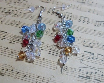 Crystal Earrings, Blue Earrings, Silver Earrings, Chandelier Earrings, Holiday Jewelry, MultiColor Earrings, Teacher Gifts, Bridal Earrings