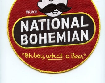 Vintage National Bohemian Natty Boh Over Sized Uniform Patch 7.5 Inches Across See Scan Nice Lot