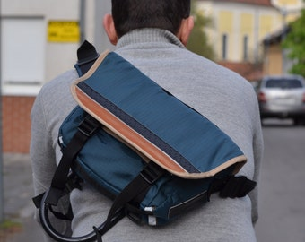 Bicycle Messenger bag Waterproof Mini blue ripstop leather, Ipad tablet motorcycle backpack day pack U lock holster