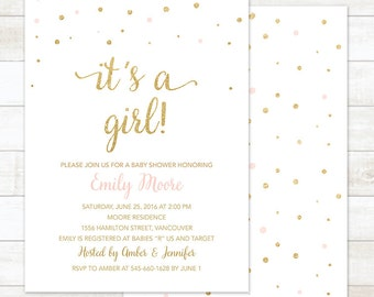 Baby Shower Invitation Girl, Pink Gold Baby Shower Invitation Printable, Baby Shower Invites, Girl Baby Shower Invitation