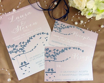 Blush & Navy Wedding Invitation, Wedding Invitation Set, Wedding Invitation Suite, Custom Wedding Invitation, Wedding Invitation Sample