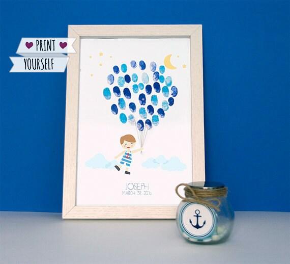 Baby Boy Fingerprint Balloons Guest Book / Printable Pdf