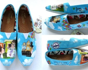 UP Wedding TOMS, Hand Painted Shoes, Carl and Ellie shoes, House and balloonsTOMS, Adventure is out there shoes,  Womens' painted shoes
