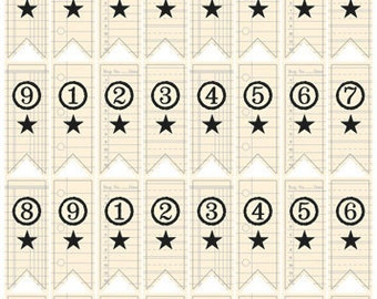 Number Flag Banner Stickers