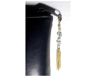 Beaded Zipper Charm With Chain Tassel, Crystal Beaded Swag, Purse Embellishment, Clutch Adornment, Bag Bling, Crystal Zipper Pull, Glitzy Up