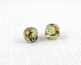Milk Glass Foiled Lampwork Beads, Brown and Gold 11mm Cubes S090