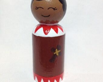 Saint Kateri Tekakwitha Wooden Peg Doll