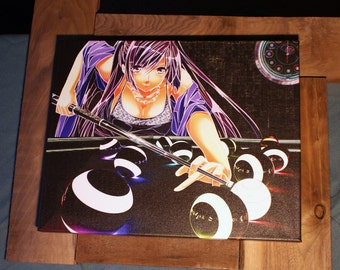 "Anime Manga Asia Pop - Fine Art ~ Limited Edition ~ 16x20 Canvas Print ~ Pool Billiards ~ Unframed Wall Hanging ~ Cyber Punk ""Beeleeyards"""