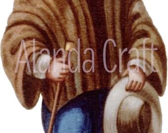 Vintage Man in Peruvian Costume, Scrapbooking, Art Journaling, Digital Download, Digital Art Image 4