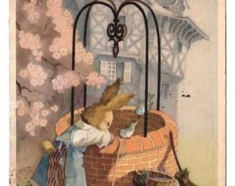 """Belgian vintage postcard, 1950, """"Joyeuses Pâques"""" - Happy Easter"""