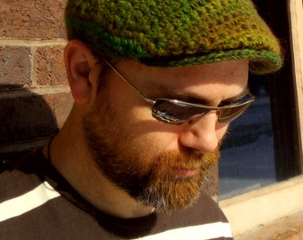 Crocheted Flat Cap in Spring colorway