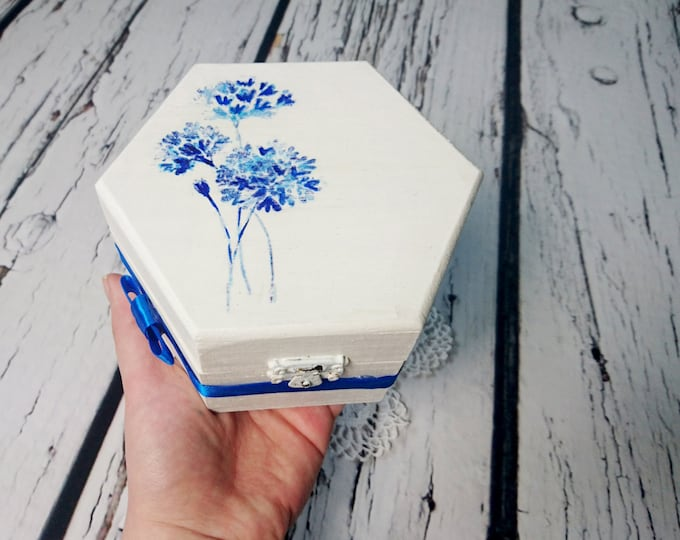 Decoupage wooden trinket box bridesmaid gift personalized blue flowers satin ribbon bow