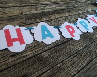 Happy Birthday Airplane Party Banner - First Birthday, Baby Shower, Photo Prop, Party Decorations