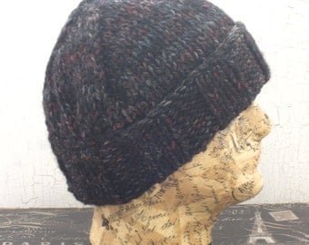 Men's Knit Hat, Chunky Ribbed Hat, Charcoal Tweed Beanie, Gifts For Him, Rolled Brim Hat, Knit Beanie, Winter Accessory, Chunky Hat