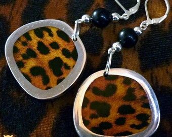 Gifts for Her, African Earrings, Leopard Print Earrings, Leopard Print Jewelry, Animal Print Earring Beads, Animal Print Jewelry