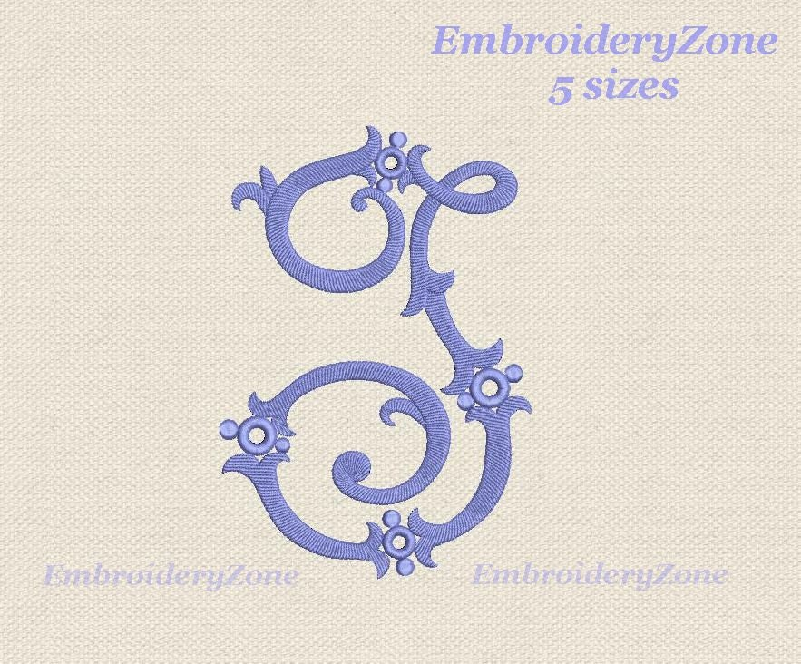 Antique monogram letter j from old book embroidery design