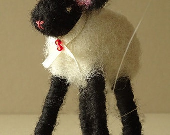 Lamb ornament - felted lamb - christening gift - nursery decor - handmade felt lamb - rustic home decor - animal decoration - little lamb