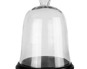 Glass Bell Cloche with Black Wooden Base (including Black Wood Base) #GCL101-WB001/08LBK