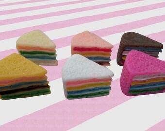 16mm Rainbow Cake Slices Decoden Dessert Cabochons - 6pc set