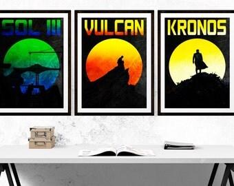 Star Trek Planet Retro Poster Set - Kronos - Sol III - Vulcan - Star Trek - Travel - Spock - (Available In Many Sizes)