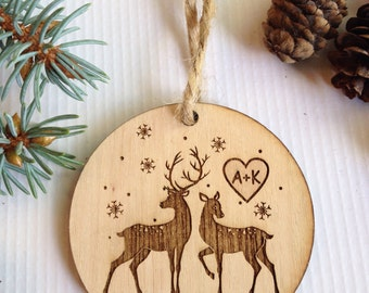 Personalized Christmas ornament, engraved Christmas ornament, tree decoration,deer,love, christmas tree decoration, christmas gift, wedding