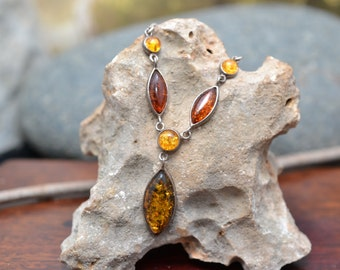Sterling Silver and Multi-Colored Amber Drop Necklace