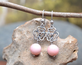 Sterling Silver Wire Flower Earrings with Light Pink Bead