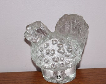 Lovely vintage retro crystal glass stylized Bird figurine. Made by Pukeberg glass factory, Sweden Scandinavian.