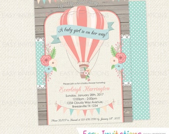Hot Air Balloon Baby Shower Invitation, Up Up And Away, Baby Shower Invitation, Girl, Vintage, Digital, Printable, Shabby, Pretty, Flowers
