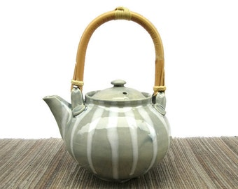 Teapot, Hand Made Ceramic Pottery Teapot in Pale Blue with White Striped Design, Pottery Teapot with Cane Handle, Modern, Ready to Ship