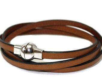 Womens leather bracelet - flat leather bracelet - brown bracelet - wrap bracelet - womens bracelet - multi strand bracelet - magnetic clasp