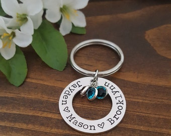 Personalized Birthstone Keychain | Gifts For Grandma | Personalized Gifts For Mom | Grandma Birthstone Keychain | Keychain with Kids Names