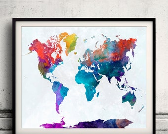 World map in watercolor 24 - Fine Art Print Glicee Poster Decor Home Gift Illustration Wall Art Countries Colorful - SKU 2337