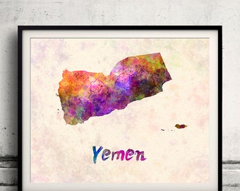 Yemen - Map in watercolor - Fine Art Print Glicee Poster Decor Home Gift Illustration Wall Art Countries Colorful - SKU 2006