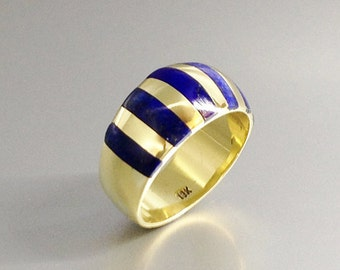 Classic striped ring with Lapis Lazuli set in 18K gold - gift idea - solid gold - striped statement ring - AAA Grade Lapis - unique