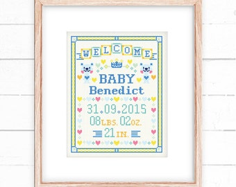 Baby cross stitch pattern - Blue Bear Welcome Baby - Xstitch Instant download - Baby announcement , Baby sample , Baby Record