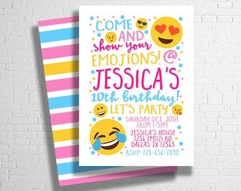 Emoji Birthday Invitation | Tween Birthday Invite | Teen Birthday Invitation | Texting Emoji Pink Blue | DIGITAL FILE ONLY