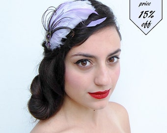 Purple fascinator-Feather headwear-Feather Fascinator-Purple Feather Headband-Cosplay Headband-1920s style-Great gatsby-Flapper style