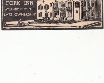 "Atlantic City NJ Postcard ""Knife & Fork Inn"" Woodblock-Print, 1955"