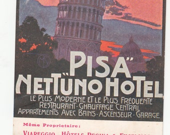 Autthentic Old Postcard Italy Pisa Nettuno Hotel Great Color