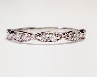 0.30CT Diamond Anniversary Ring, Art Deco Antique Style Half Eternity, Stackable Band, Wedding Bands 14K White, Yellow, Rose Gold