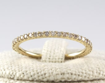 Thin Diamond Full Eternity Band 14K Solid Gold, Champagne Diamond Ring, Cognac Diamond Wedding Band