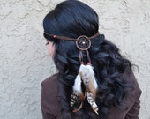 Dreamcatcher Feather Headband - Brown Dreamcatcher - Natural Feathers - Tribal - Native American - Indian - Burning Man - Festivals