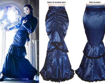 Victorian Dark Blue Satin Single Bustle Skirt  - Ready To Ship