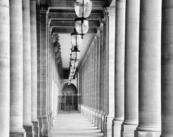 Paris black and white photography, Paris photography, black and white photo, Paris architecture, colonnade, covered passage, fine art print